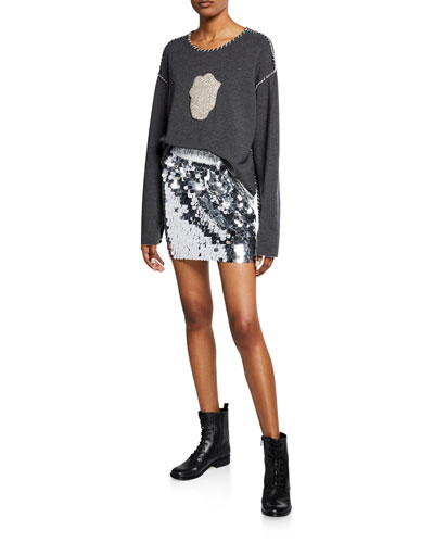 Logo-Embroidered Sequin Skirt and Matching Items