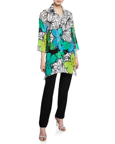 Butterfly-Print Button-Front 3/4-Sleeve Swing Shirt and Matching Items  Plus Size