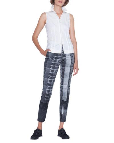 Sleeveless Zip-Front Poplin Shirt and Matching Items