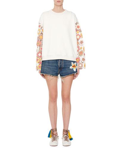 Cornely-Lace Sleeve Sweatshirt and Matching Items