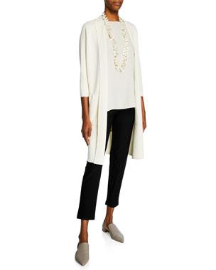 967c2548a7e Eileen Fisher Long High-Collar Open-Front Interlock Jacket Bateau-Neck Silk  Georgette