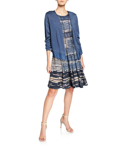 Easy Flow Button-Front Cardigan with Chiffon Hem  Plus Size and Matching Items
