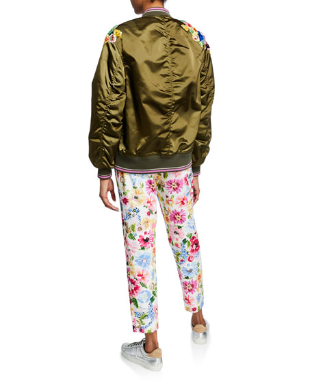 Sequined Satin Zip-Front Bomber Jacket