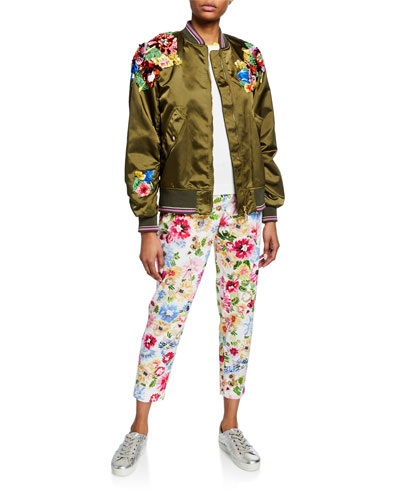 Sequined Satin Zip-Front Bomber Jacket and Matching Items