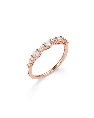 14k Rose Gold Three Large Diamond Stack Ring, Size 7 and Matching Items