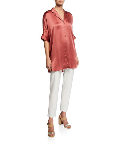 Hammered Silk Button-Front Elbow-Sleeve Shirt and Matching Items  Plus Size
