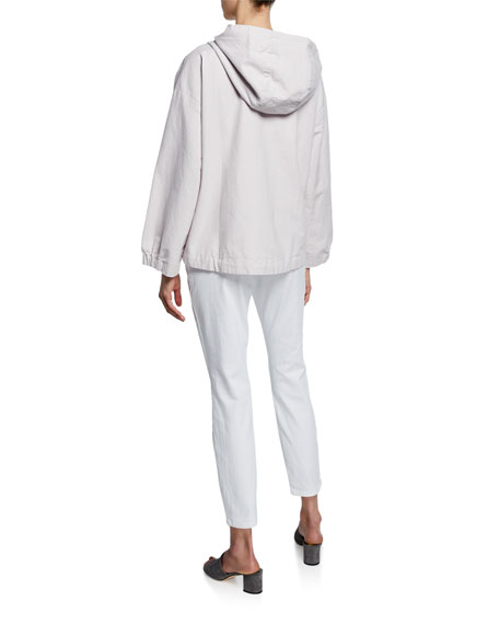 Eileen Fisher Sueded Canvas Hooded Jacket