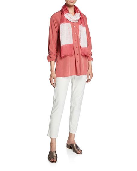 Eileen Fisher Petite Sand-Wash Band-Collar Long-Sleeve Shirt