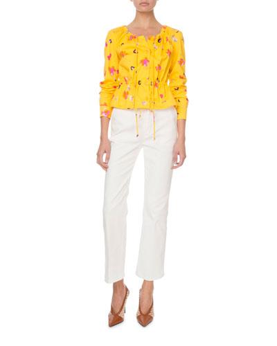 Agata Long-Sleeve Painterly Floral Blouse