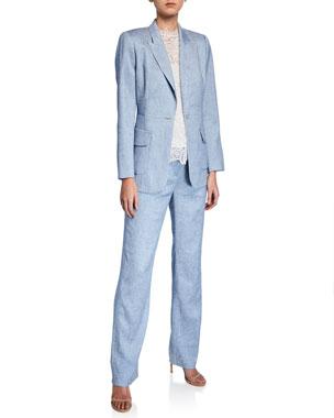 4281ba1b30 Elie Tahari Camy One-Button Jacket Leena Straight-Leg Pants