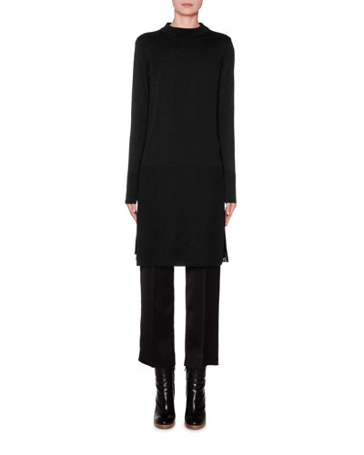 Long-Sleeve Banded High-Low Tunic  Black and Matching Items