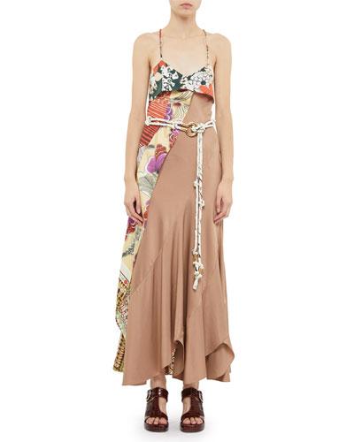 Asymmetric Silk Maxi Dress and Matching Items