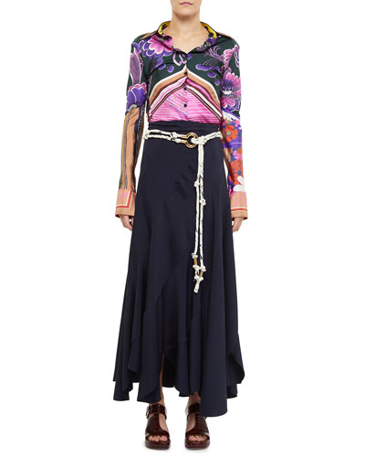 Fluid Twill Bias Cut Ankle Length Skirt and Matching Items