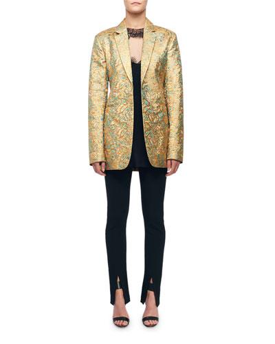 Golden Floral Brocade Blazer Jacket and Matching Items