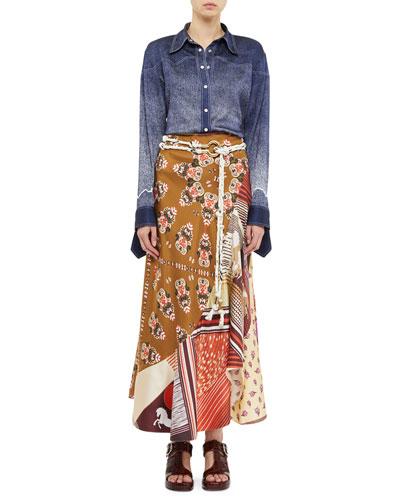 Multi-Print Patchwork Drop-Waist Skirt and Matching Items