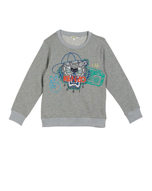 9e216c10 Kenzo Tiger in Ball Cap Embroidered Sweatshirt, Size 5-6 Tiger in Ball Cap