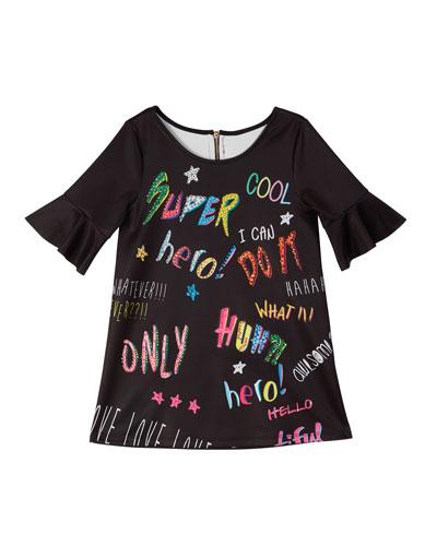 Bell-Sleeve Graffiti-Print Scuba Dress  Size 4-6  and Matching Items