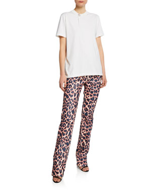 70ff47cdc053 CALVIN KLEIN 205W39NYC Short-Sleeve Crystal Button T-Shirt Animal-Print  Straight-