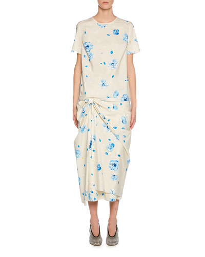 Short-Sleeve Painted Flower Print Dress and Matching Items