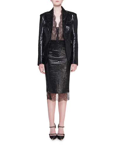 Crocodile Embossed Goat Leather Blazer and Matching Items