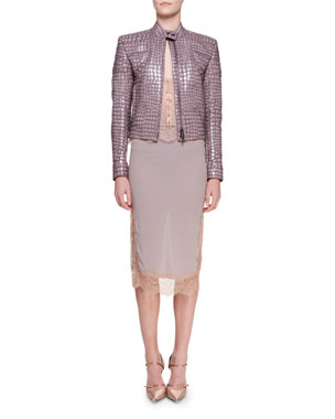c1e7a5f7ab6 TOM FORD Crocodile-Embossed Leather Moto Jacket Stretch Charmeuse  Lace-Front Camisole Chantilly Lace
