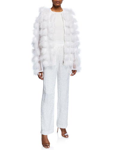 Feathered-Puff Mesh Jacket and Matching Items
