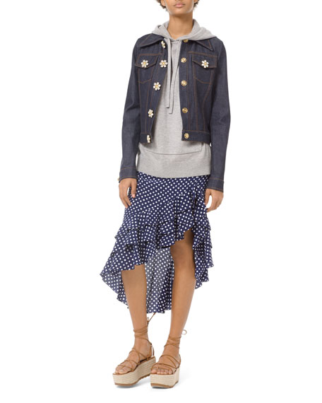 Michael Kors Collection Floral Gem-Button Denim Jacket
