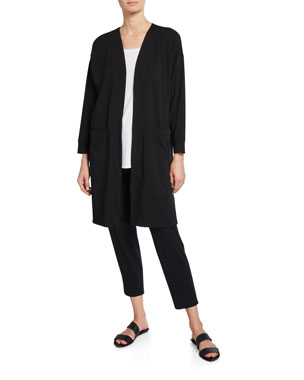 5c2aa90ccce Eileen Fisher Open-Front Bracelet-Sleeve Jersey Cotton Jacket Slub Organic  Cotton Tank Drawstring