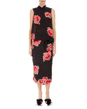 aed9feb00696 Simone Rocha Mandarin-Collar Floral-Silk Top Slim Button-Side Dress