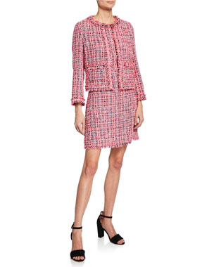 0e2a53f96 kate spade new york multi tweed open-front jacket multi tweed short-sleeve  sheath