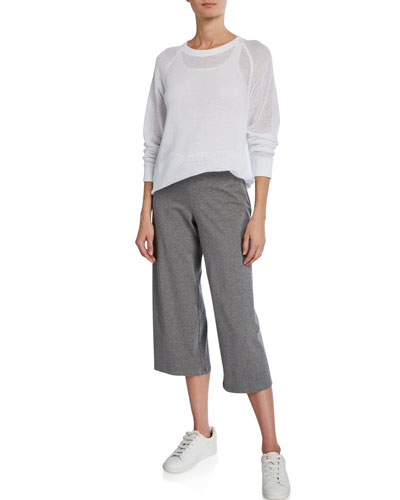 Long-Sleeve Sheer Mesh Cotton Pullover and Matching Items