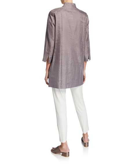 Eileen Fisher Petite Marble Satin Jacquard Open-Front 3/4-Sleeve Jacket