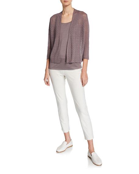 Eileen Fisher Petite Open-Front Blouson-Sleeve Linen-Crepe Cardigan