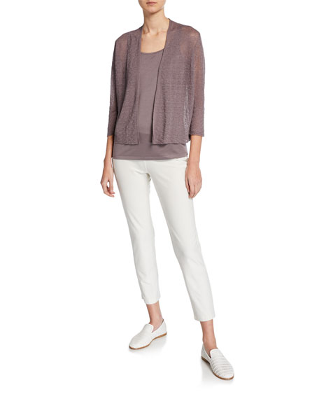 Eileen Fisher Plus Size Open-Front Blouson-Sleeve Linen-Crepe Cardigan