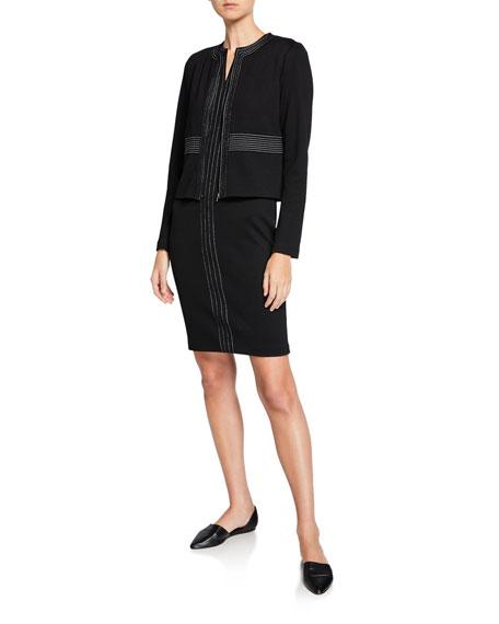 St. John Collection Milano Knit Topstitch Jacket