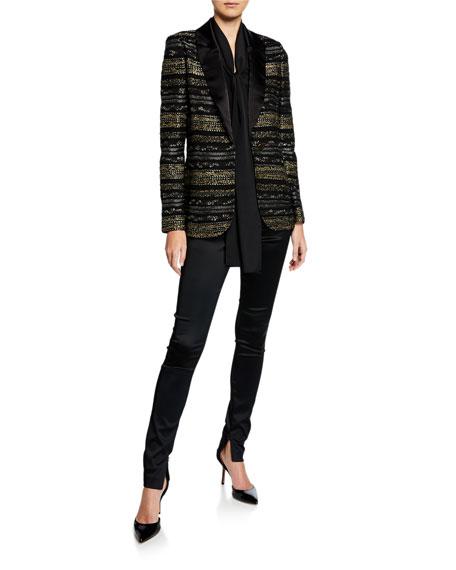 St. John Collection Silk Shoulder Drape Top w/ Detachable Scarf
