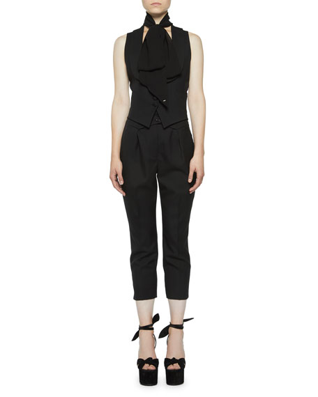 Saint Laurent Shawl-Collar Gabardine Vest