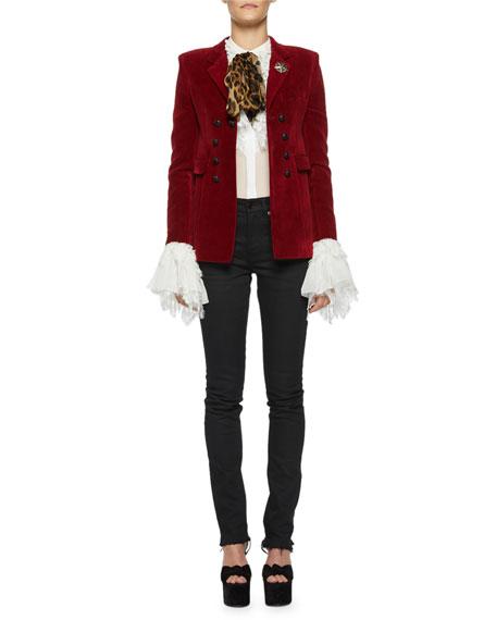 Saint Laurent Spencer Velvet Patch-Pocket Blazer Jacket