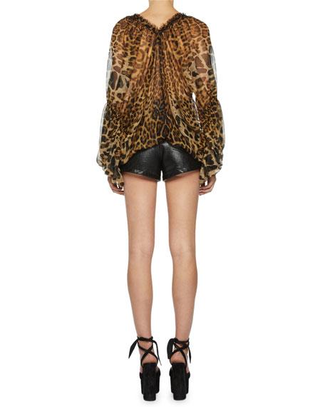 Saint Laurent Leopard-Print Silk Full-Sleeve Blouse