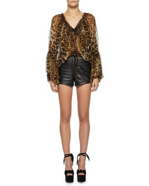9fc58ef360e2 Saint Laurent Leopard-Print Silk Full-Sleeve Blouse High-Rise Leather Shorts