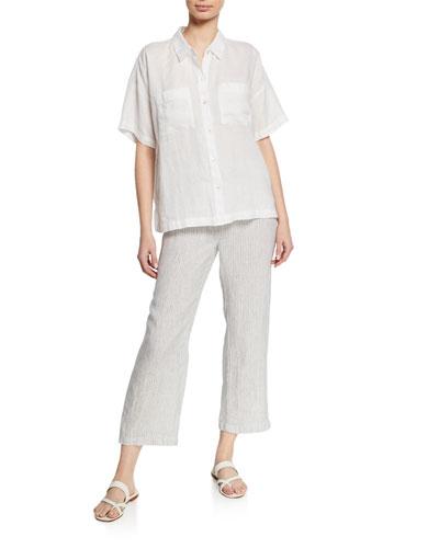 Mini-Stripe Drawstring Straight-Leg Organic Linen Crop Pants and Matching Items
