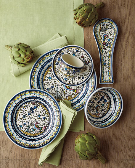 Keramos Nazari Pavoes Blue and Green Spoon Rest