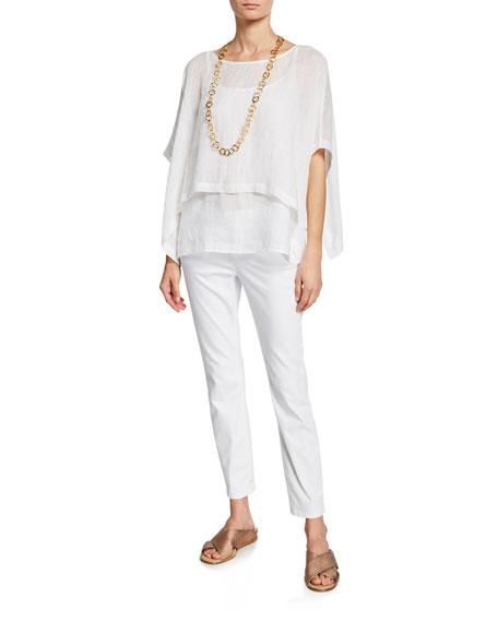 Eileen Fisher Organic Linen Gauze Short-Sleeve Crop Tie Poncho