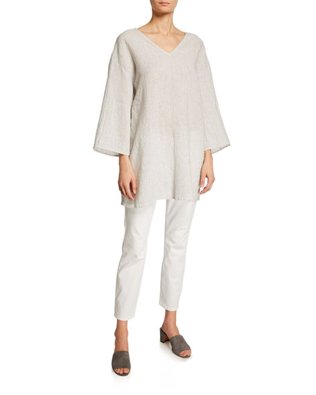 Eileen Fisher Mini-Stripe Linen 3/4-Sleeve Tunic