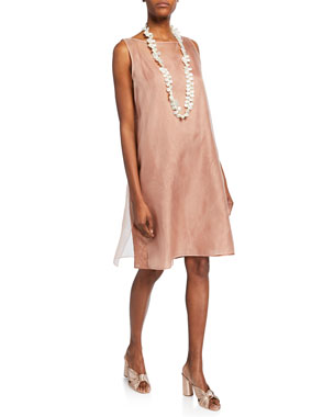 221a7131be1 Eileen Fisher Washed Silk Organza Layering Dress Lightweight Crushed Silk  Slip Dress