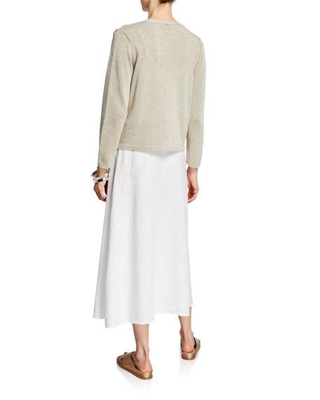 Eileen Fisher Shine Open-Front Bracelet-Sleeve Crop Cardigan