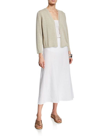 Eileen Fisher Petite Shine Open-Front Bracelet-Sleeve Crop Cardigan