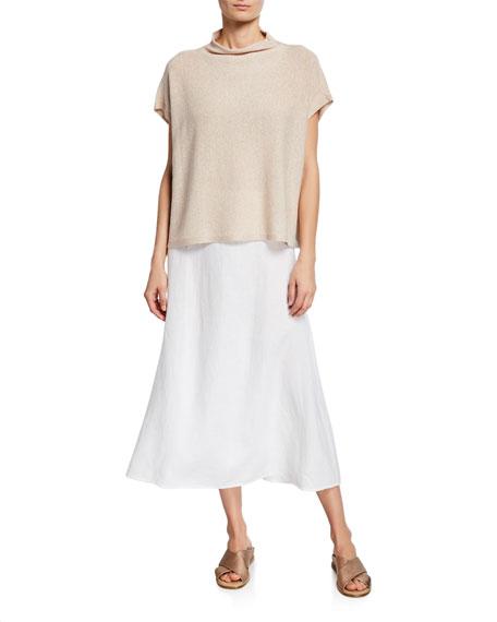Eileen Fisher Petite Shine Funnel-Neck Short-Sleeve Top