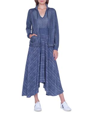 cd8afa67f3 Akris Shimmer Knit Parka V-Neck Shimmer Handkerchief Dress