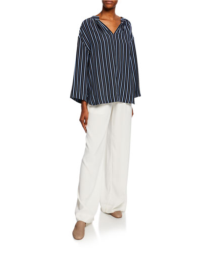 Kimono-Sleeve Striped Silk Blouse and Matching Items